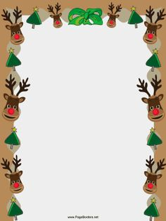 Reindeer faces, Christmas trees and a green ribbon adorn this free, printable Christmas border. Free to download and print.