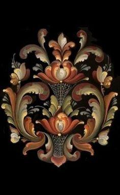 Folk Art Flowers, Flower Art, Rosemaling Pattern, Norwegian Vikings, Norwegian Rosemaling, Modern Baroque, Tole Painting Patterns, Scandinavian Folk Art, One Stroke Painting