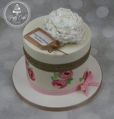 Vintage Handpainted Peony Birthday Cake. - http://pontycarlocakes.com/vintage-handpainted-peony-birthday-cake/ #Birthdaycake, #Cake, #Ganache, #Peony, #Pontycarlocakes, #Rose, #Rustic, #Sharpedge, #Vintage