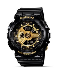 Baby-g Black with Gold Tone Face Extra Large Ana-Digi Watch, 46.3mm