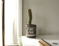 Vintage Hershey's Syrup clay pot with cactus.
