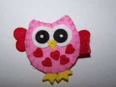 Girls Red and Pink Valentine's Day Owl Hair Clip Owl Hair Clippie Non-slip Grip Valentine Owl. $3.75, via Etsy.