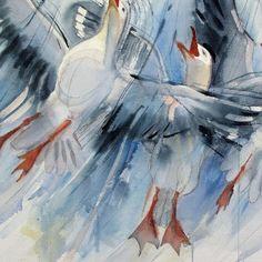 Tiina Lehtimäki - Heaven, I'm in Heaven,   Akvarelli paperille. Teos on kehystämätön