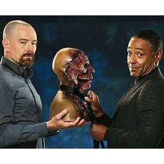 "Bryan Cranston and Giancarlo Esposito hold the Gustavo Fring Bust from the ""Ding Ding Ding"" scene. #breakingbad #walterwhite  #bryancranston #meth #bitch #AMC #lospolloshermanos #heisenberg #brba #aaronpaul"