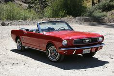 Red Mustang Convertible --mine was dark green and had giddy up and go! 66 Ford Mustang, Red Mustang, Ford Mustang Convertible, Mustang Cars, Ford Mustangs, Old Vintage Cars, Antique Cars, Old Fashioned Cars, Classic Mustang
