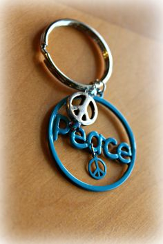 Blue peace sign Key Chain by MissMinniesCreations on Etsy, $7.00