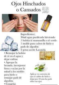 Ojos hinchados o cansados Essential Oil Recipies, Natural Beauty Remedies, Tips Belleza, Doterra Essential Oils, Diffuser Blends, Diy Skin Care, Natural Oils, Health And Beauty, Beauty Hacks