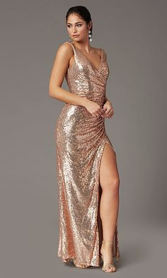 Shop tight long prom dresses with sequin embellishments at PromGirl. V-neck sequin dresses for prom, sparkly plus-size prom dresses, and faux-wrap formal dresses with ruching, slits, and v-backs.