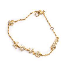 Βραχιόλι I love you χρυσό Al'oro ζιργκόν 1476 Gold Necklace, Jewels, Bracelets, Gold Pendant Necklace, Jewerly, Bracelet, Gemstones, Fine Jewelry, Gem
