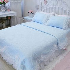 Find More   Information about Luxury princess pink blue white purple yellow beding sets,full queen ruffles lace bedclothes bed skirts pillow case quilt cover,High Quality  ,China   Suppliers, Cheap   from secret garden201307 on Aliexpress.com