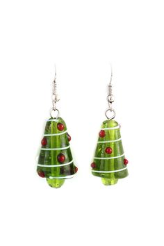Christmas Tree Dangles in Blown Glass