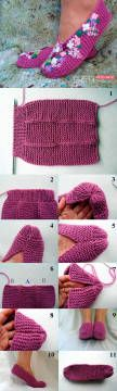 Picture tutorial for cute knit slippers