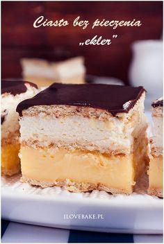 Ciasto bez pieczenia Ekler + Recenzja robota planetarnego Silvercrest (With images) Sweet Bakery, Salty Cake, Sweets Cake, Polish Recipes, Polish Food, Savoury Cake, How Sweet Eats, Cake Tins, Delicious Desserts