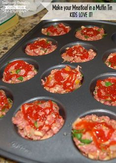 Cook your meatloaf in a muffin tin, the kids will love it!  (Mini-Meatloaf Recipe.)
