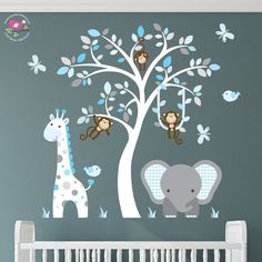 Enchanted Interiors Premium Self Adhesive Fabric Nursery Wall Art Stickers Jungle Wall Decals featuring a Safari Tree, Swinging Monkeys, a Giraffe and Elephant. Blue and Grey Nursery Room Decor Jungle Wall Stickers, Boys Wall Stickers, Nursery Wall Stickers, Nursery Wall Art, Nursery Room, Baby Room Wall Art, White Nursery, Teal Nursery, Baby Stickers