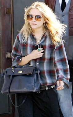 Mary-Kate Olsen goes shopping in LA. #style #fashion #olsentwins #plaid