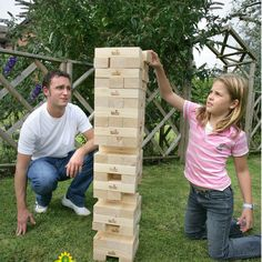 Play a giant game of jenga where you'll feel the crushing impact of a falling tower after every loss. With the ability to create a tower over tall, these giant jenga blocks are great for the outdoors, and come with a handy travel bag. Outdoor Toys, Outdoor Games, Outdoor Fun, Outdoor Crafts, Outdoor Learning, Outdoor Ideas, Garden Games, Gardens