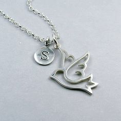 Silver Dove Initial Necklace from notonthehighstreet.com