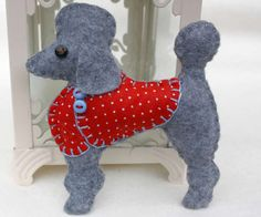 Poodle Christmas ornament, Felt dog ornament, Fifi