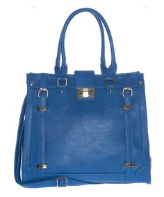 Loving this Royal Blue Double Buckle Tote on #zulily! #zulilyfinds
