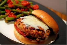 Healthy Chicken Parmesan Burgers are quick and easy to make, plus they taste decadent without the guilt!