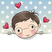 Greeting card cute Cartoon Boy with placard