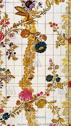 Textile design, by James Leman (1685-1745). Watercolour. Spitalfields, London, England, 1720.