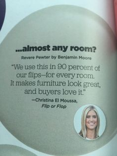Hgtv Magazine Bm Revere Pewter For Flip Or Flop Interiors Paint Colors Best Paint Colors