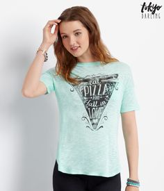 Tokyo Darling Pizza Love Boxy Burnout Tee - Aeropostale