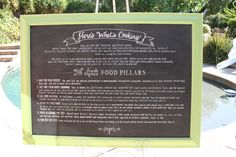 Colorado's Fresh Thymes Eatery restaurant philosophy board to hang in the entry area. Vintage lettuce green frame