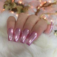 Pink chrome metallic nails