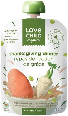 NEW Love Child Organics Savoury Baby Meals: Thanksgiving Dinner Sans Gluten, Gluten Free, Feeling Hungry, Nutritious Meals, Coconut Water, Baby Food Recipes, Baby Meals, Turkey, Thanksgiving