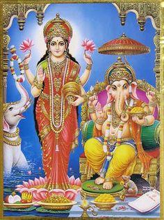 Lord Ganesha goes through the hallways of my life, opening closed doors and Goddess Lakshmi walks through these now open doors bringing prosperity with her. All of my gratitude to them both! Radha Krishna Wallpaper, Krishna Art, Indian Gods, Indian Art, Deus Vishnu, Diwali Pooja, Lord Balaji, Lakshmi Images, Hindu Art