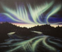 """Sky Dance Series - """"Filled With Your Glory"""" by Amy Keller-Rempp Art. by acrylic on canvas. Original painting donated to KAOS 911 Christian Radio Station in Fort McMurray. Giclee Prints and fine art cards available. Canadian Wildlife, Fort Mcmurray, Aboriginal Artists, Art Cards, Spirit Animal, Giclee Print, Northern Lights, Amy, Original Paintings"""