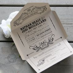 Kraft self-mailer wedding invitation, eco friendly, recycled, quirky & whimscial, seal and send, less waste, vintage chic // Open-me-Softly
