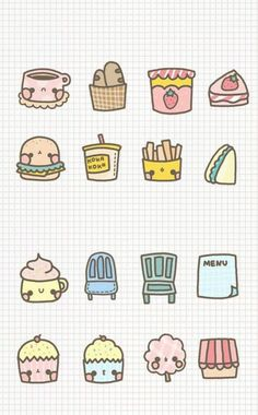 ^ I don't know if it is really junk food day or not, but I do know that these are as cute as anything else and more than some. Cute Food Drawings, Cute Kawaii Drawings, Kawaii Doodles, Kawaii Art, Doodle Drawings, Cartoon Drawings, Easy Drawings, Doodle Art, Bujo Doodles