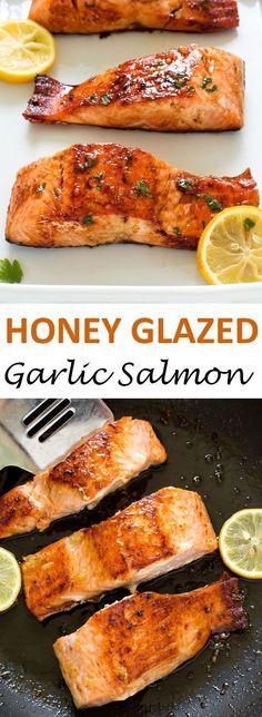 20 Minute Honey Garlic Salmon. Pan fried and served with a sweet and sticky honey lemon glaze.   chefsavvy.com #recipe #honey #garlic #salmon #seafood #dinner