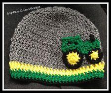 crochet beanie John Deere hat  tractor Newborn 0-3 6 months 2t 3t 4t photo prop