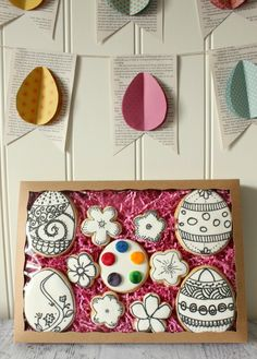 Paintable Easter cookies- use royal icing, let paste color dry, then use water and a brush to paint