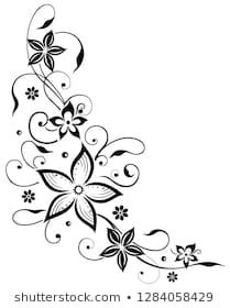 Similar Images Stock Photos & Vectors of Beautiful lilies and abstract flowers 182664719 - Stock Photo - Ideas of Stock Photo Photo - Floral filigree tendril with flowers. Embroidery Flowers Pattern, Gold Embroidery, Flower Patterns, Beading Patterns, Embroidery Designs, Printable Adult Coloring Pages, Flower Doodles, Black Flowers, Amazing Drawings
