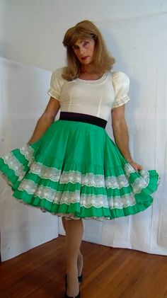 tgirl wearing square dance skirt and blouse with petticoat