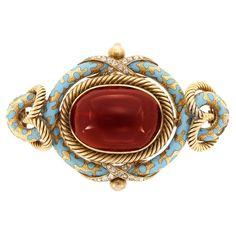 Antique Gold, Cabochon Garnet, Turquoise Enamel and Diamond Pendant-Brooch  One oval cabochon garnet ap. 16.0 x 22.0 mm., rose-cut diamonds, minor enamel loss, ap. 20 dwts. Victorian or Victorian style.