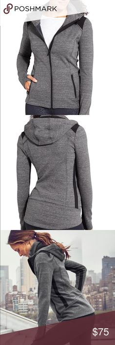 "Athleta Stronger Hoodie Charcoal grey full zip Athleta Stronger Hoodie.  26.5"" in the front, 29.5"" in the back. Mid weight, super soft fleece lining. Thumb holes, reflective detailing, stand up collar and chafe-free zipper. Like new condition, only worn once! Athleta Tops Sweatshirts & Hoodies"