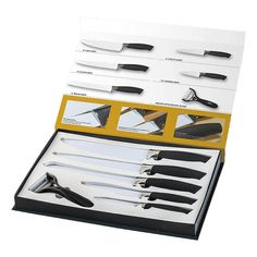 This 6 Piece Fully Customisable Knife Set is a great set that includes a variety of knives, perfect for everyday use. – Chef Knife – Slicer Knife – Bread Knife – Utility Knife – Paring Knife – Peeler with Ceramic Blade Hospital Gifts, Utility Knife, Knife Sets, Chef Knife, Hospitality, Knives, Blade, Ceramics, Gift Ideas