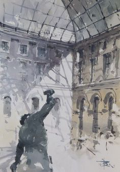 Soft watercolor brush strokes in subdued colors create an interior view from inside the Louvre Museum. Louvre Interior Wall Art by Tony Belobrajdic from Great BIG Canvas. Australian Painting, Australian Artists, Canvas Frame, Big Canvas, Grey Abstract Art, Art Pictures, Art Pics, Painting Workshop, Watercolor Paintings