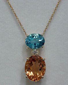 ROBERTO COIN 18K Gold Blue Topaz & Citrine Diamond Necklace $1360 - http://elegant.designerjewelrygalleria.com/roberto-coin/roberto-coin-18k-gold-blue-topaz-citrine-diamond-necklace-1360/