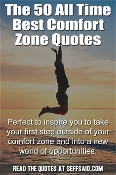 The 50 all time best comfort zone quotes. Perfect to inspire you to take your first step outside of your comfort zone and into a new world of opportunities. Comfort Zone Quotes, Take The First Step, Confidence Building, Best Self, Self Help, Personal Development, All About Time, Opportunity, The Outsiders