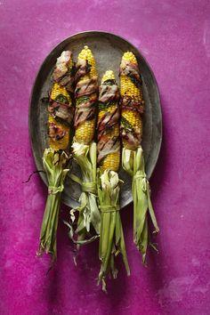 Recipe: Bacon and Basil Wrapped Corn — Oh So Corny!