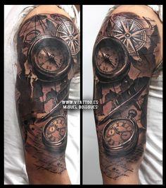v tattoo brujula compass y reloj 2