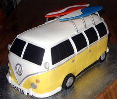 Split Screen Camper Van With Surf Boards novelty Cake